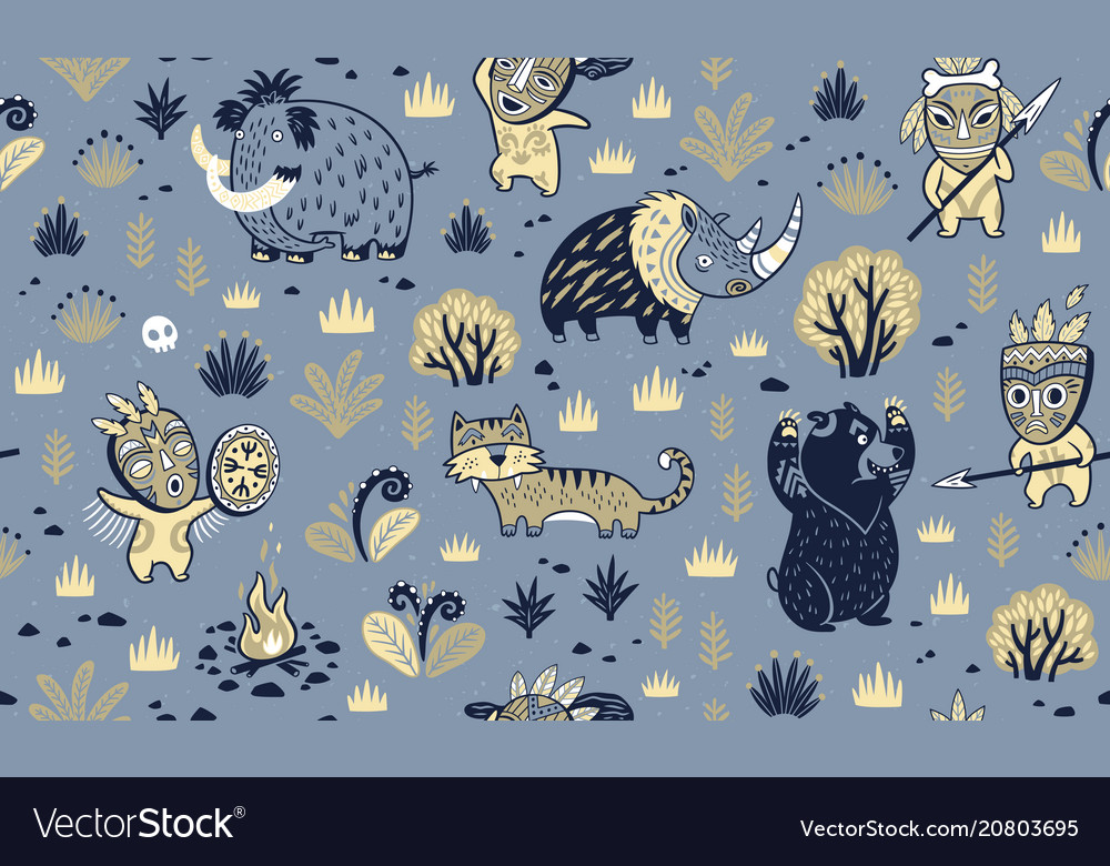 Stone age surface pattern of prehistoric animals