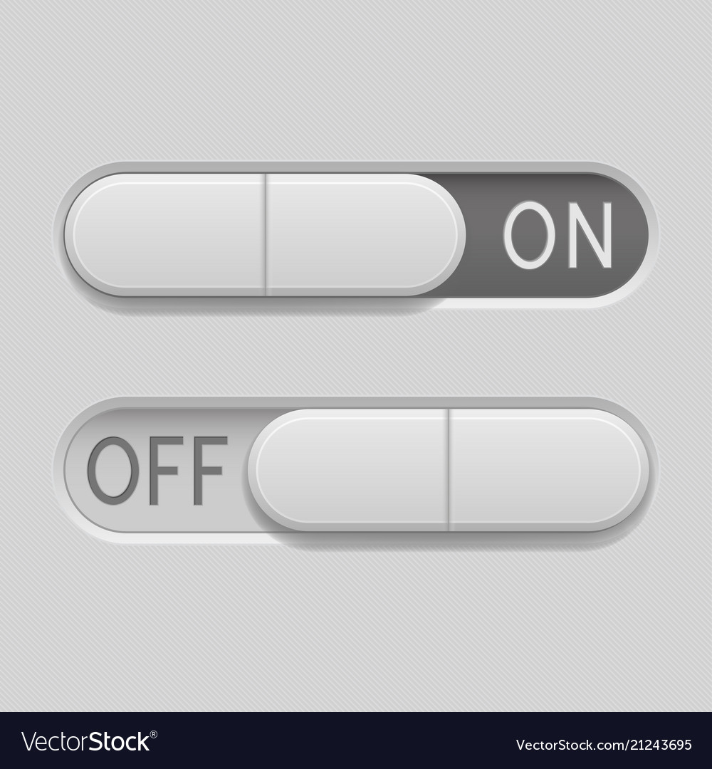 Toggle switch buttons on and off 3d oval gray Vector Image