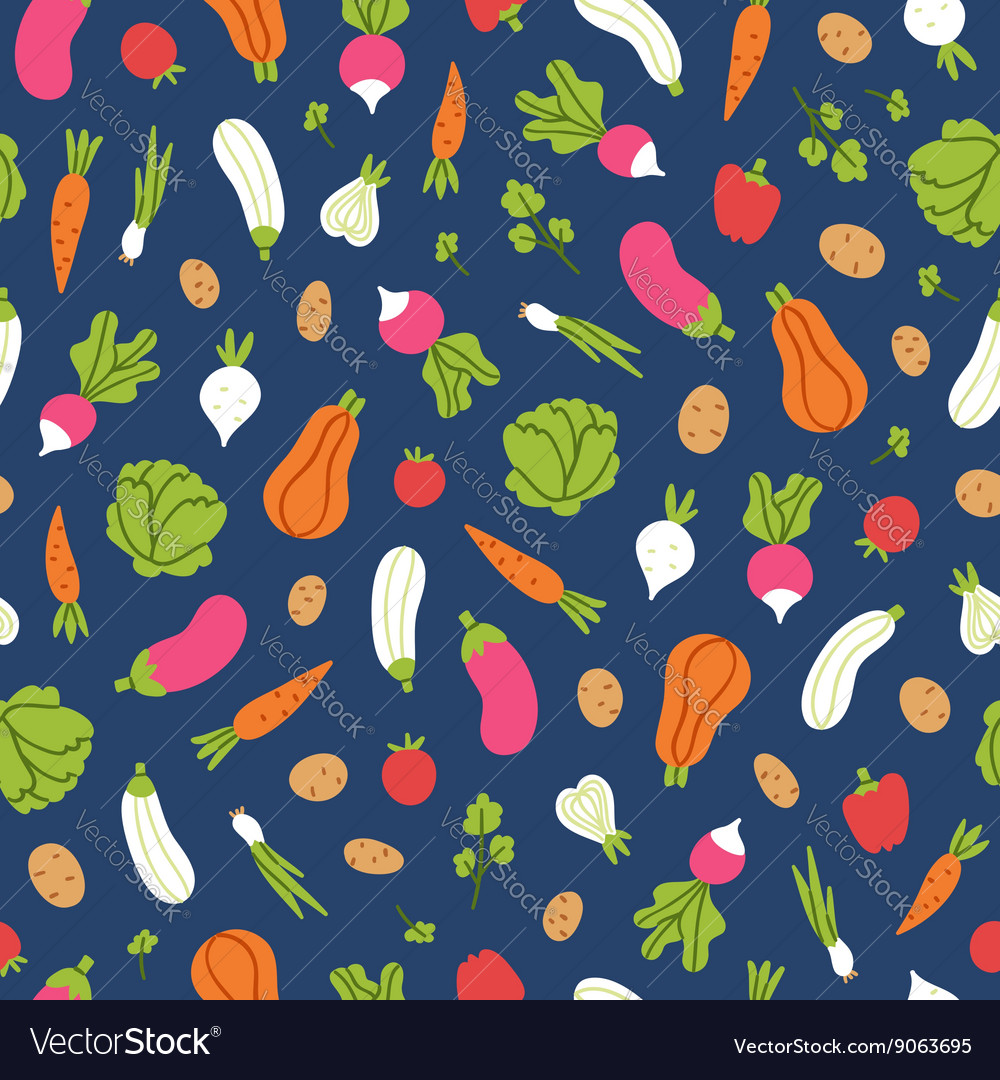 Vegetables pattern on blue background vector image
