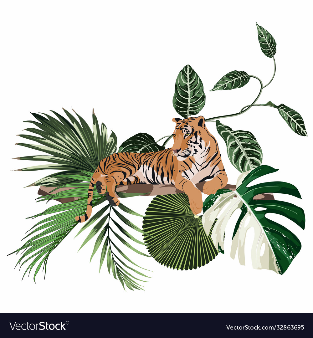Wild tiger with decorative tropical plants