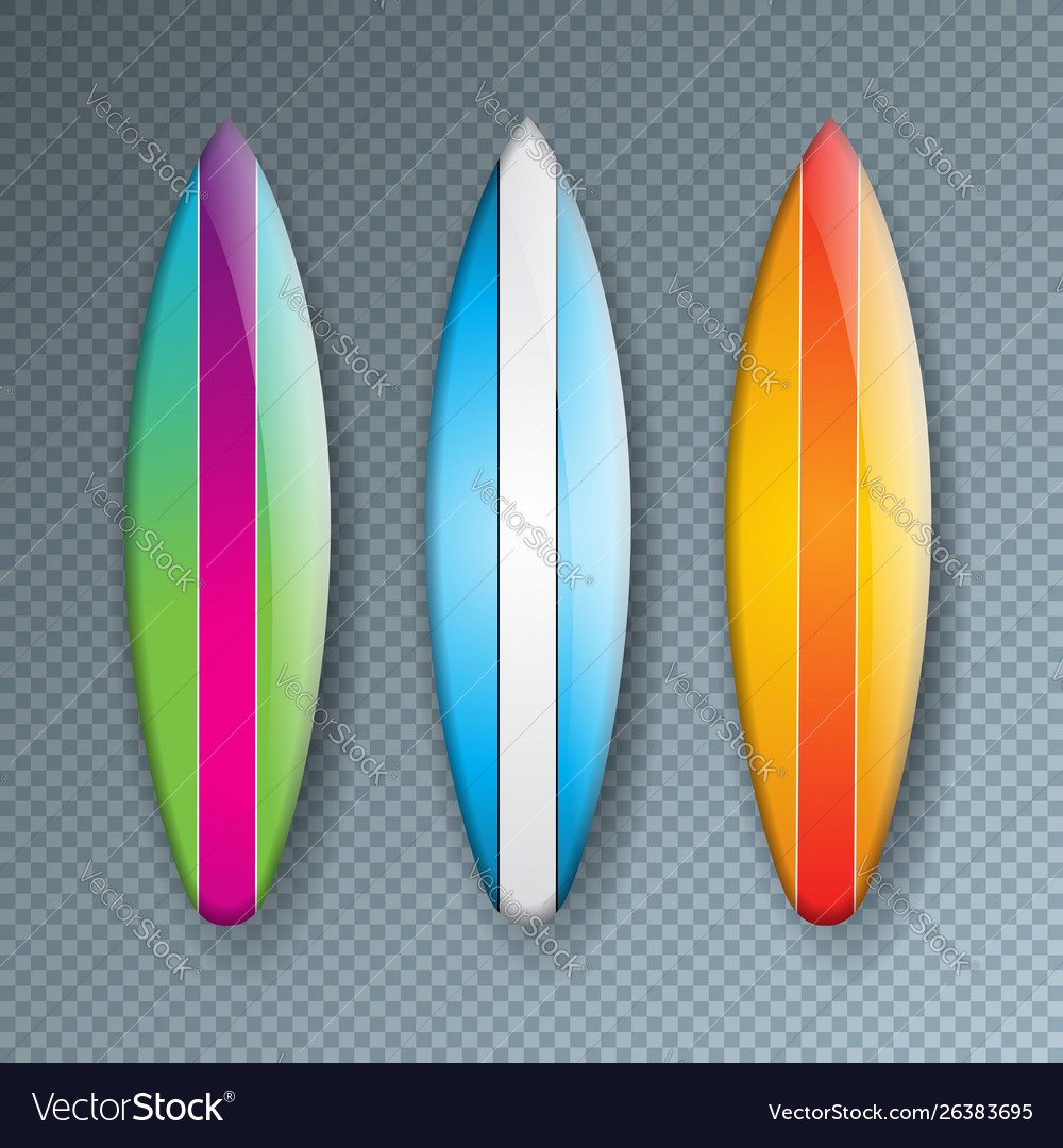 With colorful surf board
