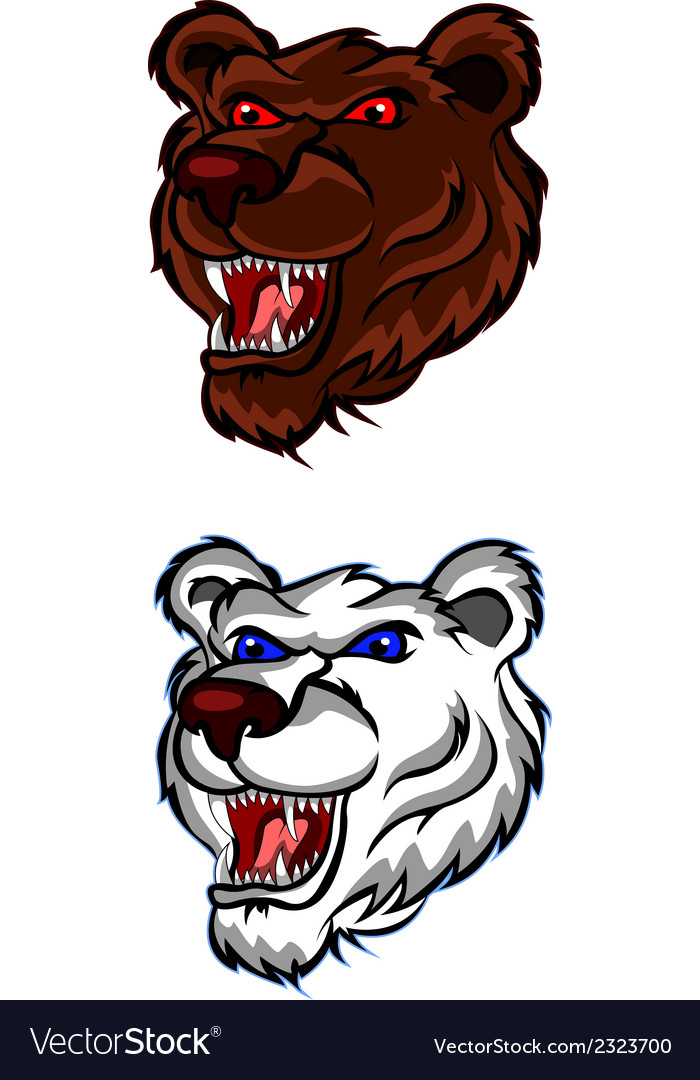 Angry bear head for you design