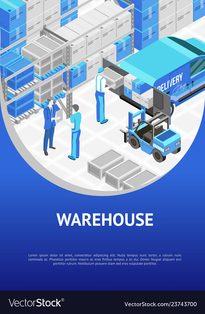 Banner with modern warehouse design