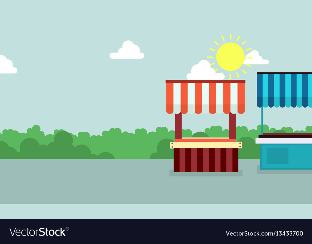 Collection of street stall with grass background vector image
