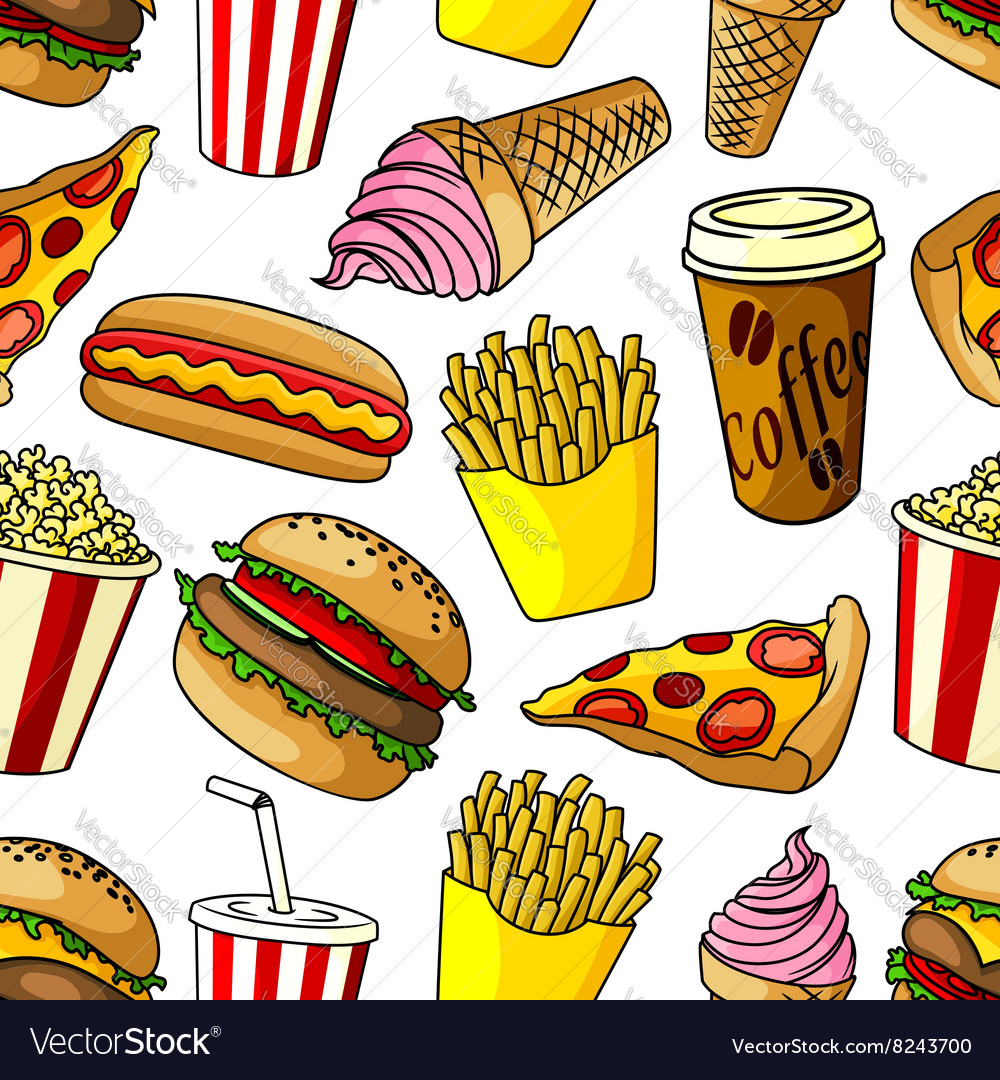 Fast food snacks seamless pattern