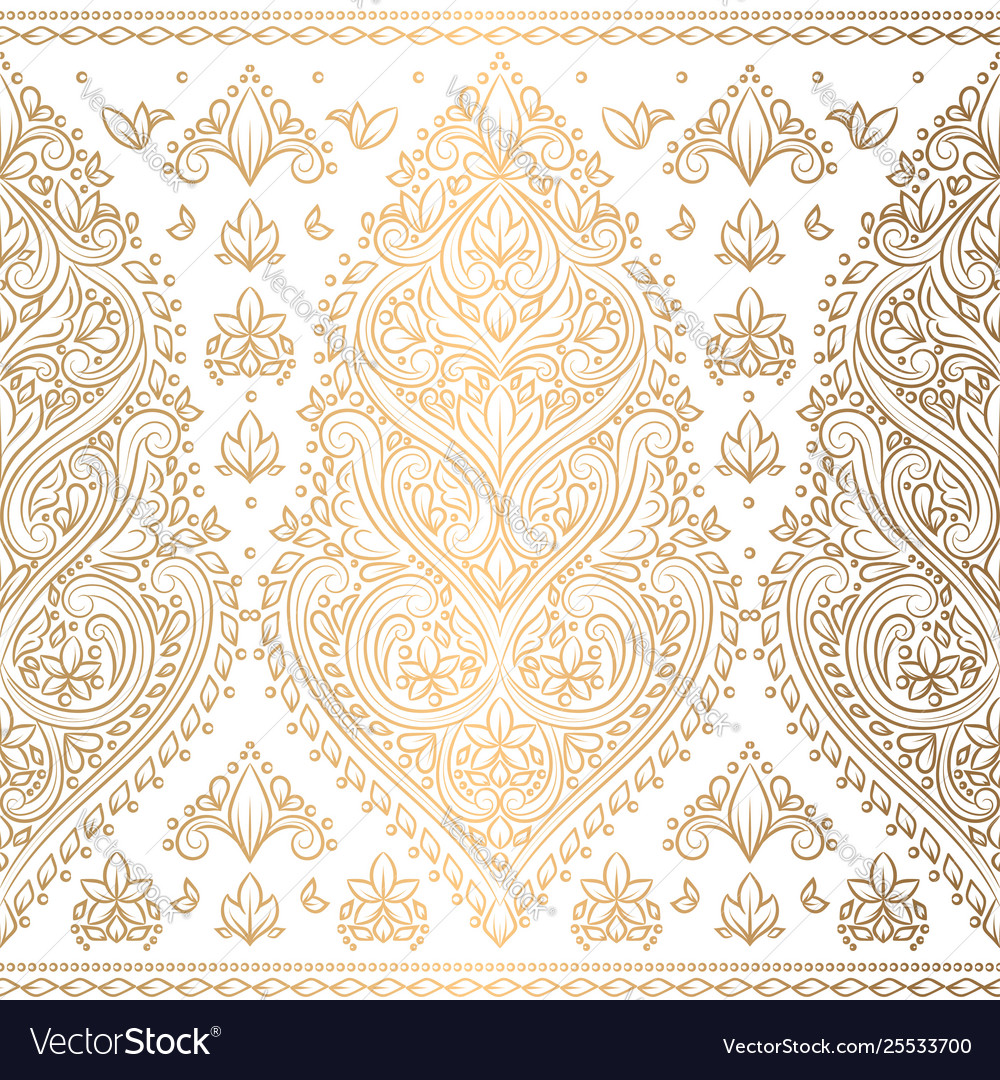 Gold And White Floral Seamless Pattern Royalty Free Vector