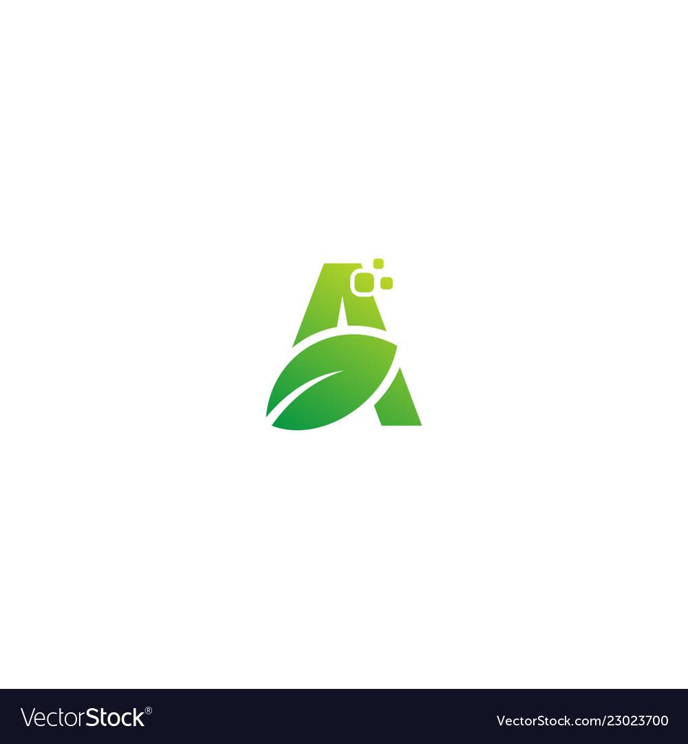 Green leaf a initial organic logo