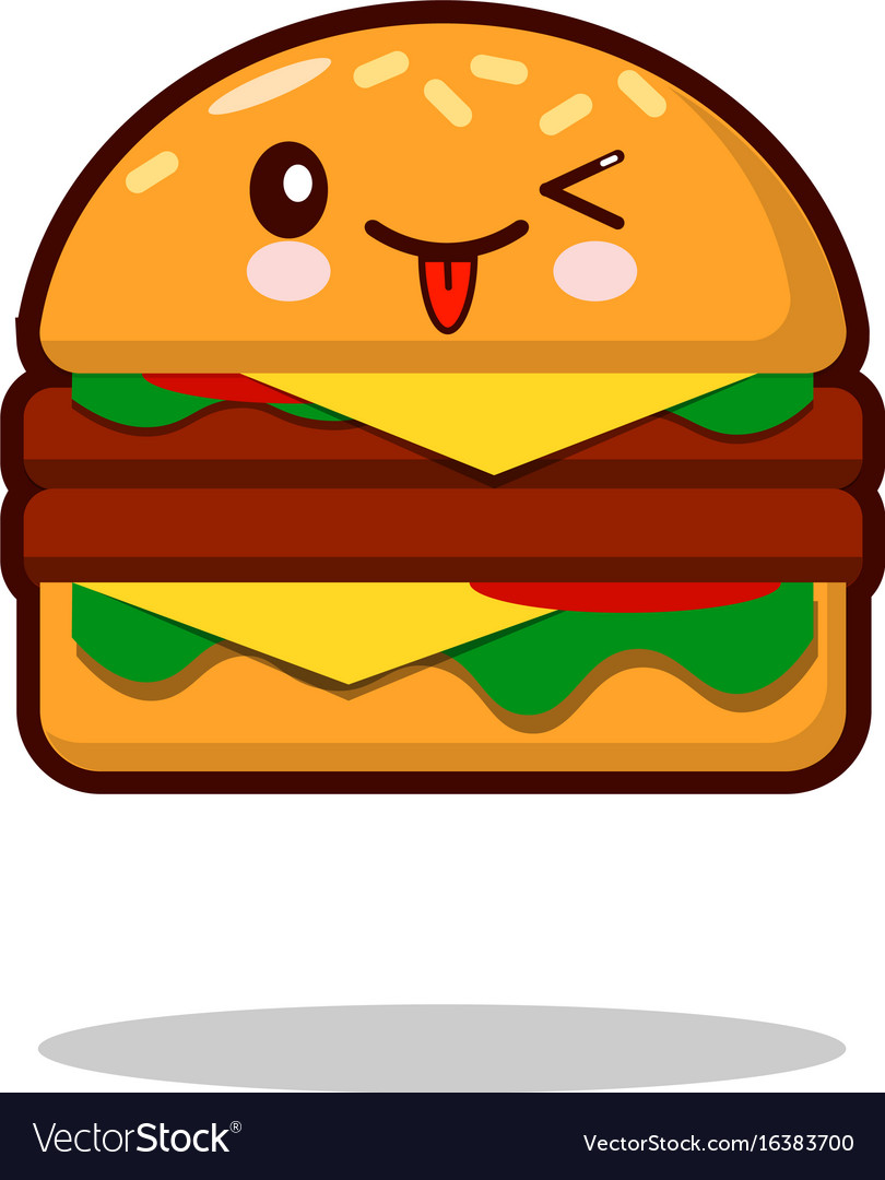 hamburger cartoon character icon kawaii fast food vector image rh vectorstock com cartoon burger cartoon burger pictures