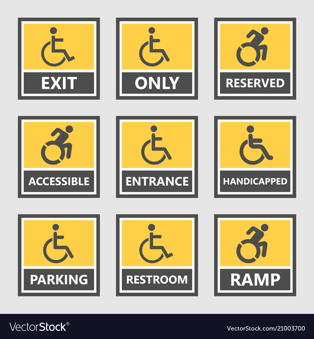 Handicap labels and signs disabled people icons