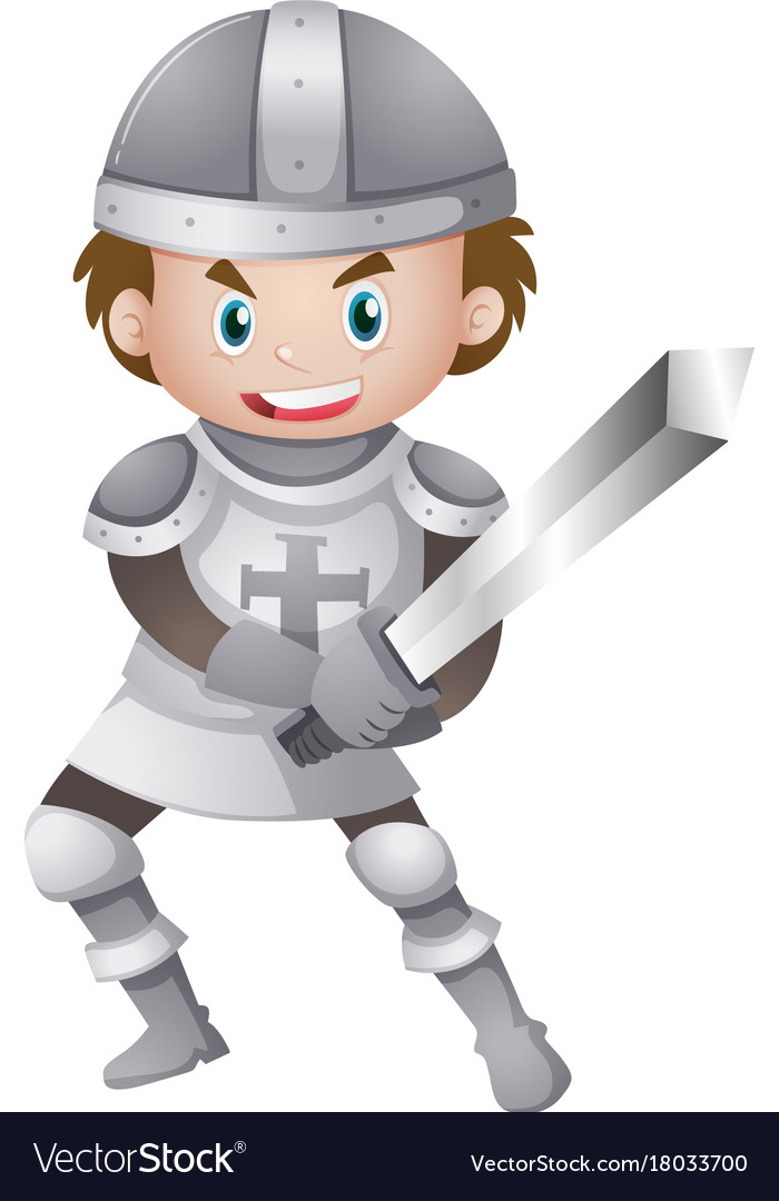 Handsome knight in armour suit holding sword