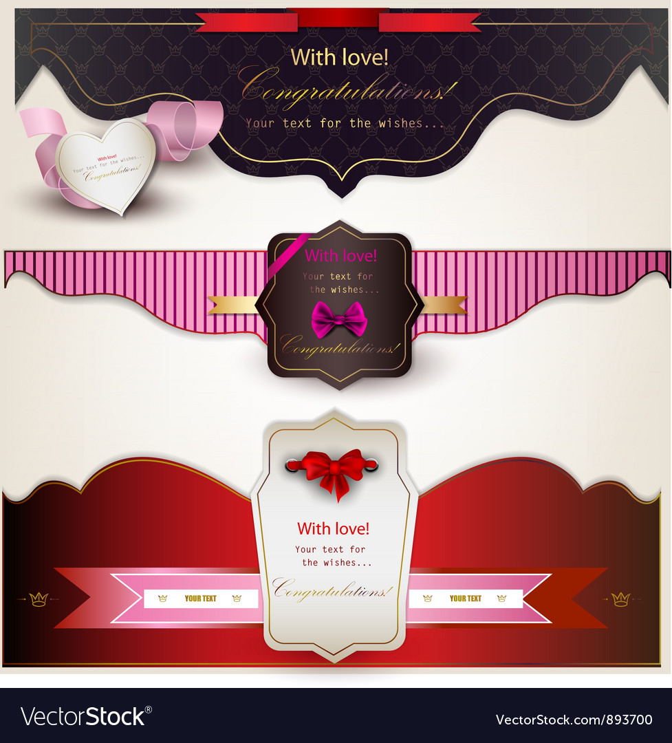 Holiday banners with ribbons vector image