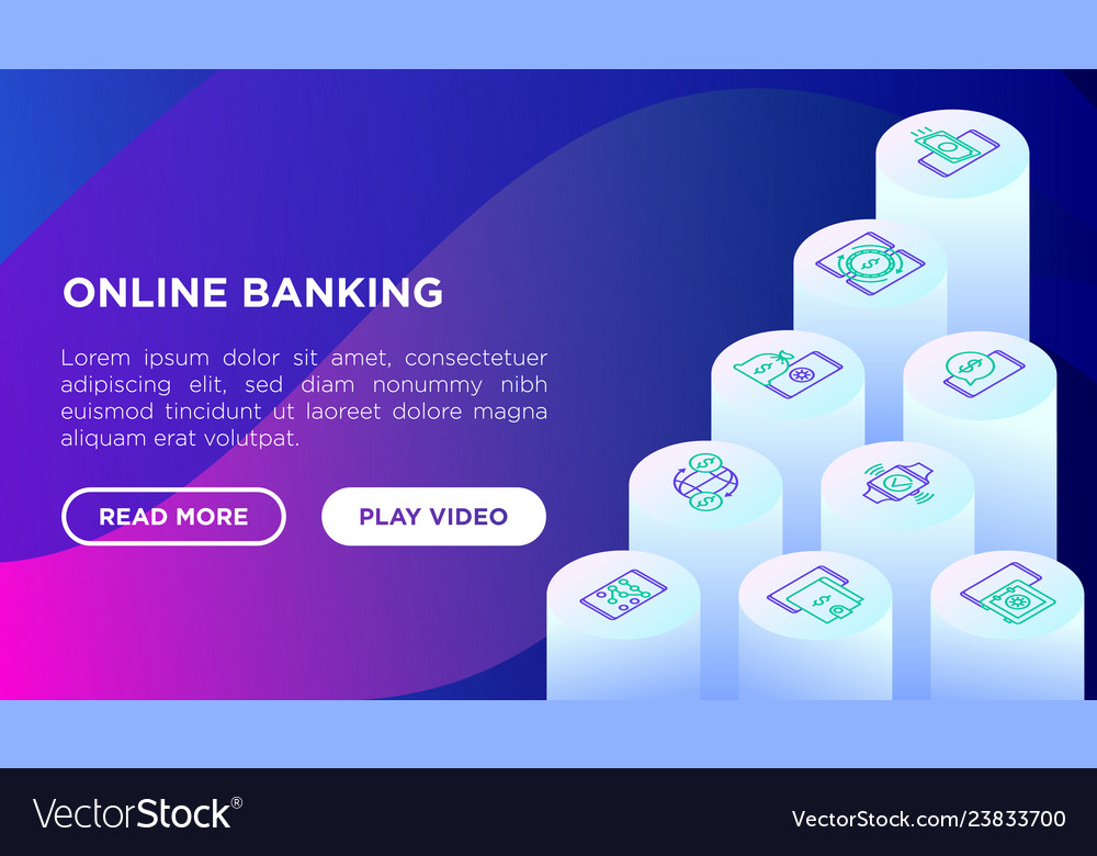Online banking concept with isometric line icons
