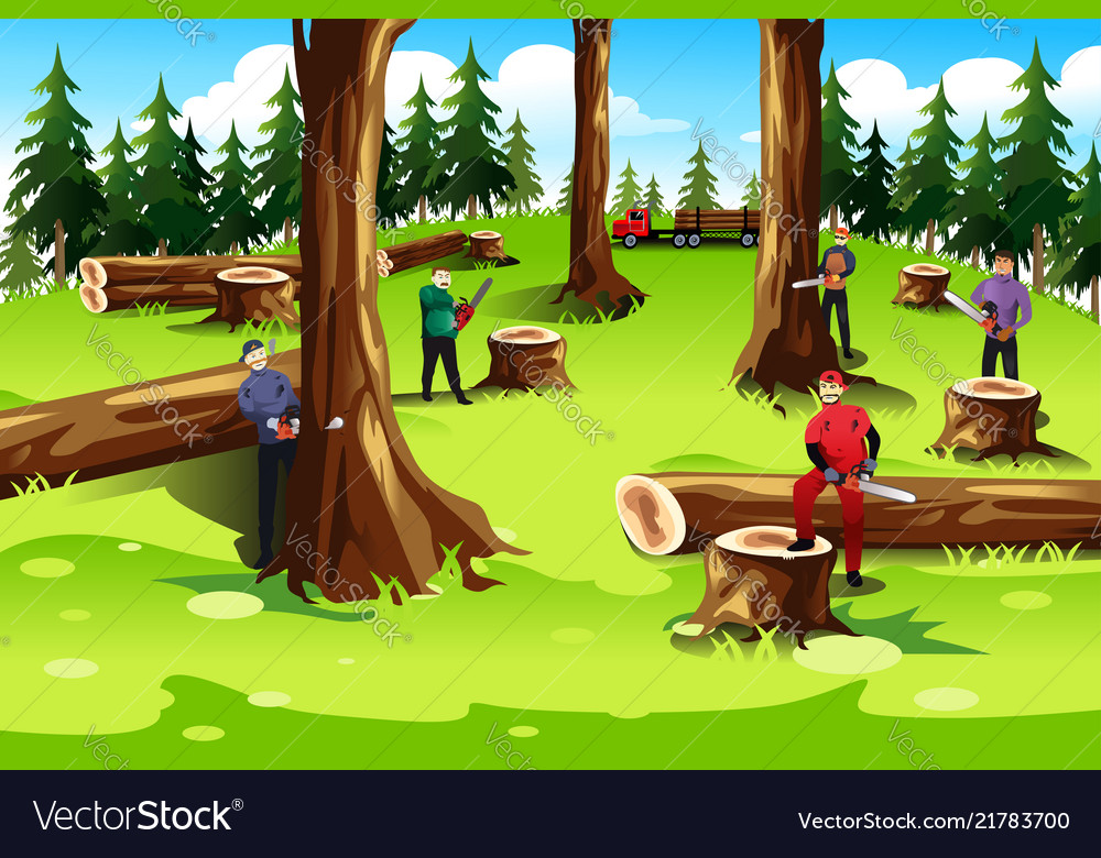 Cartoon Cutting Down Trees Vector Images 59 See more ideas about cartoon people, drawings, illustration. vectorstock
