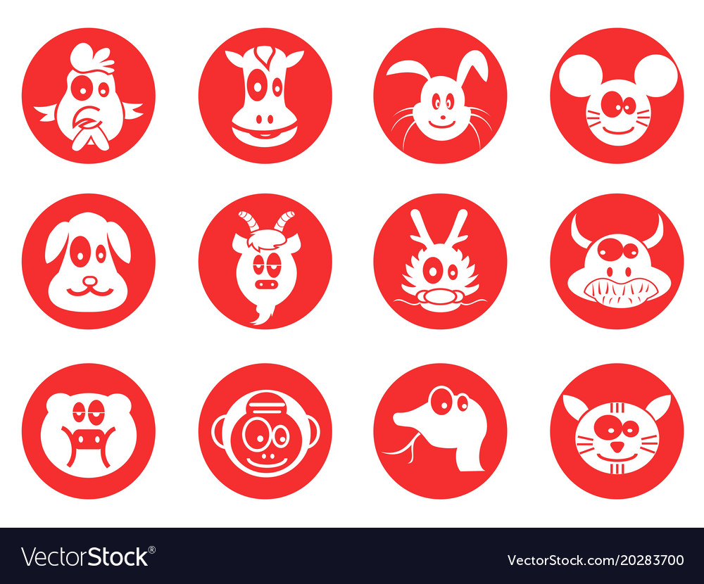 Red cartoon cute chinese zodiac button icons set