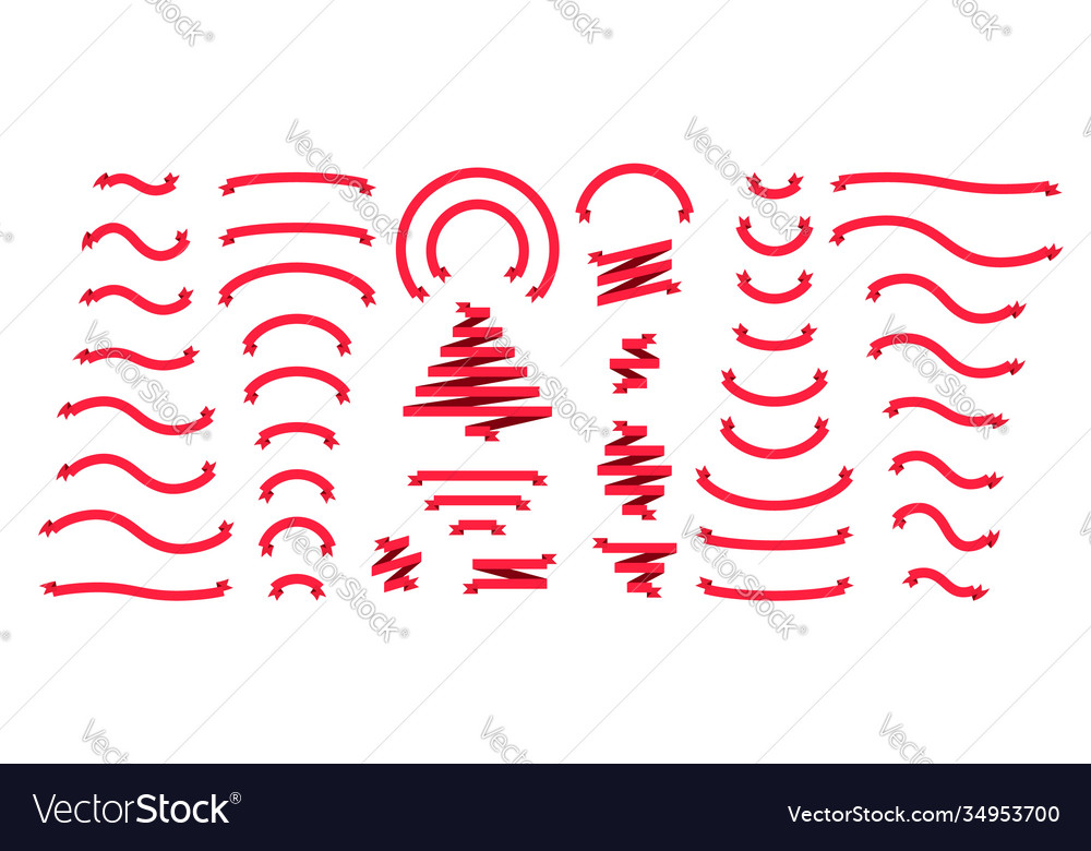Ribbons banners flat holidays design elements