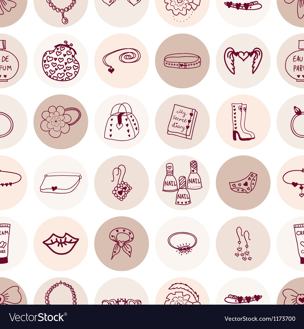 Seamless pattern pink accessories vector image