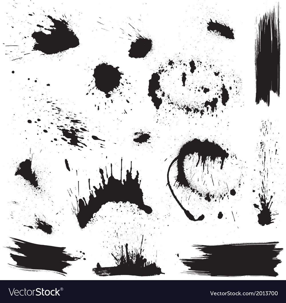 Set black blots and ink splashes abstract eleme