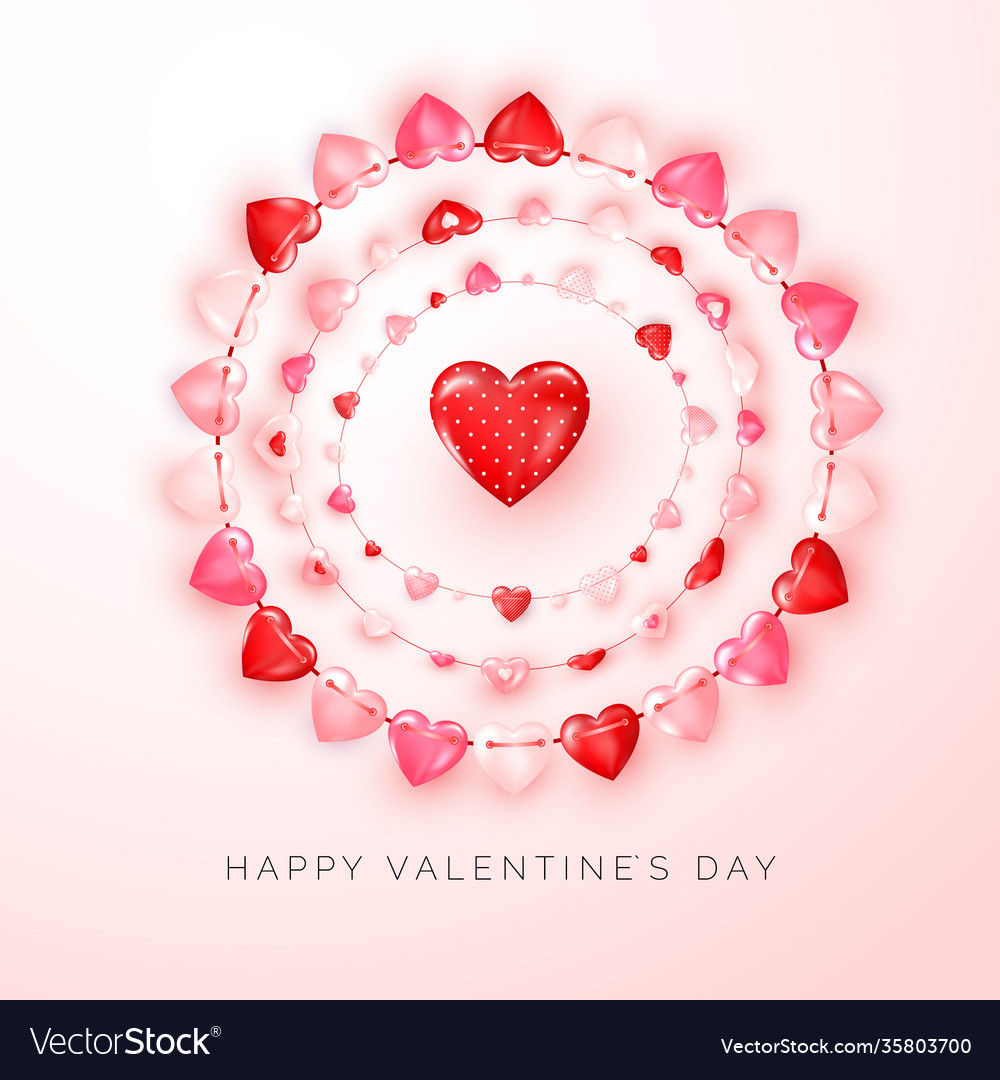 Valentines day greeting card with text and