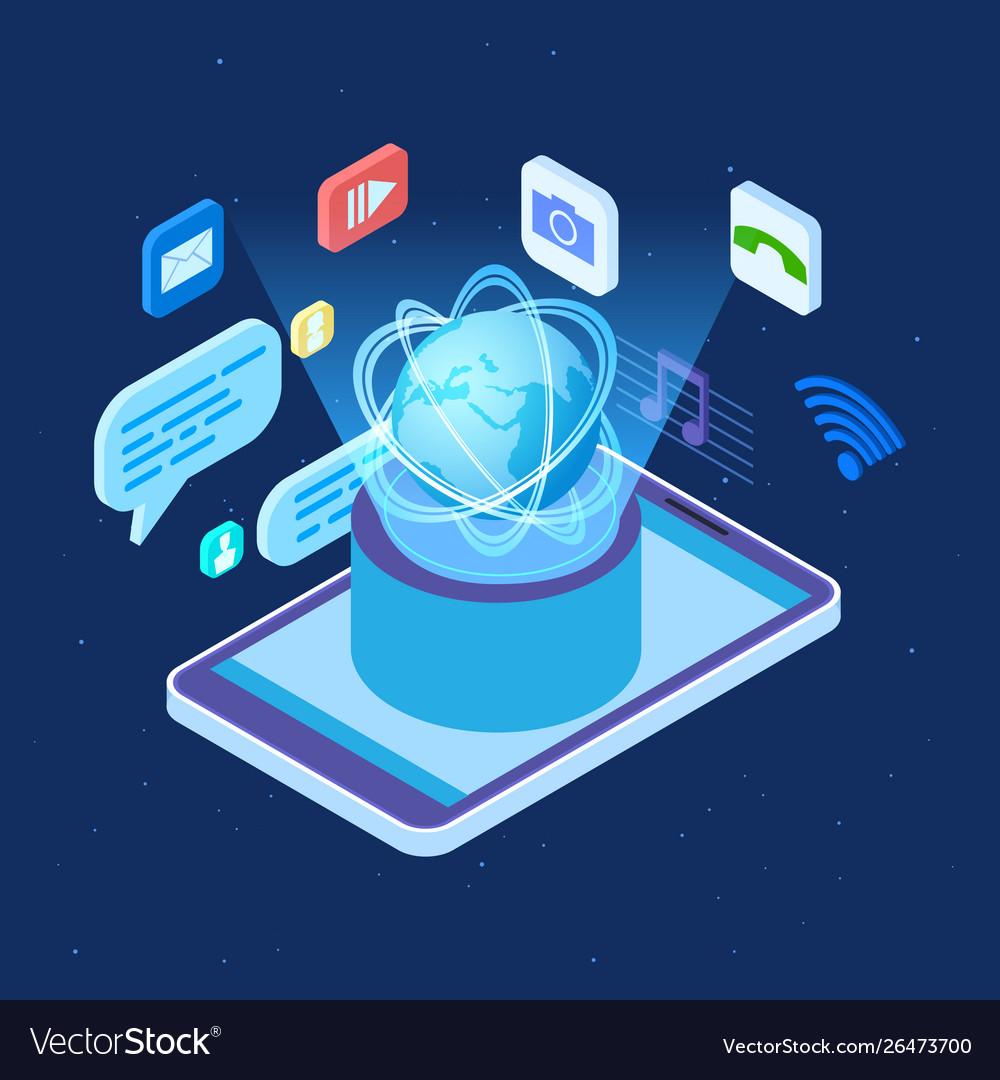 Worldwide social network isometric concept