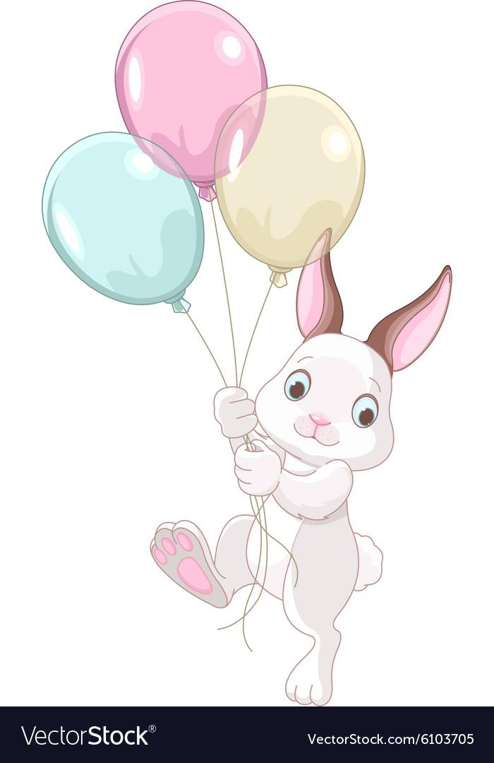 Открытка зайчик с шариками, открытку новым