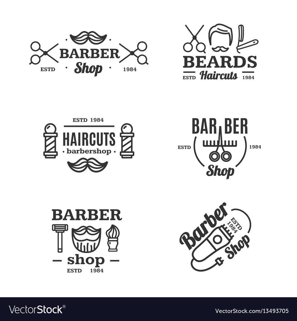 Barber shop emblems set