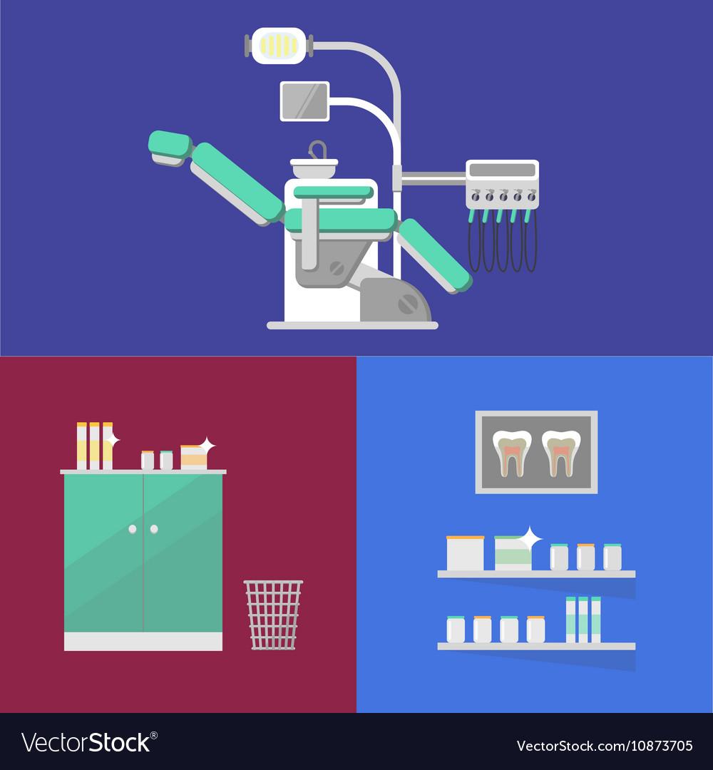 Dental office banner with dental equipment vector image