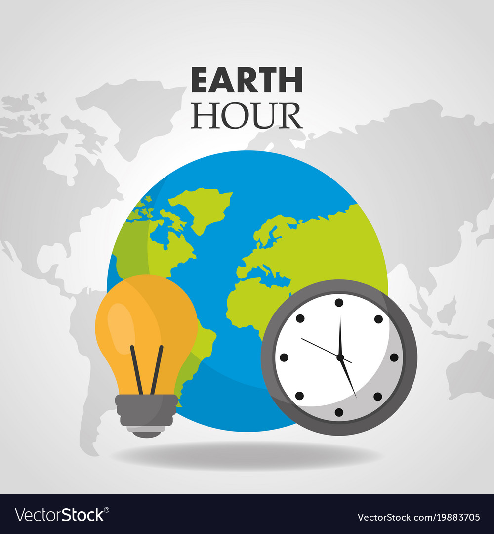Earth hour world clock bulb map background vector image gumiabroncs Images