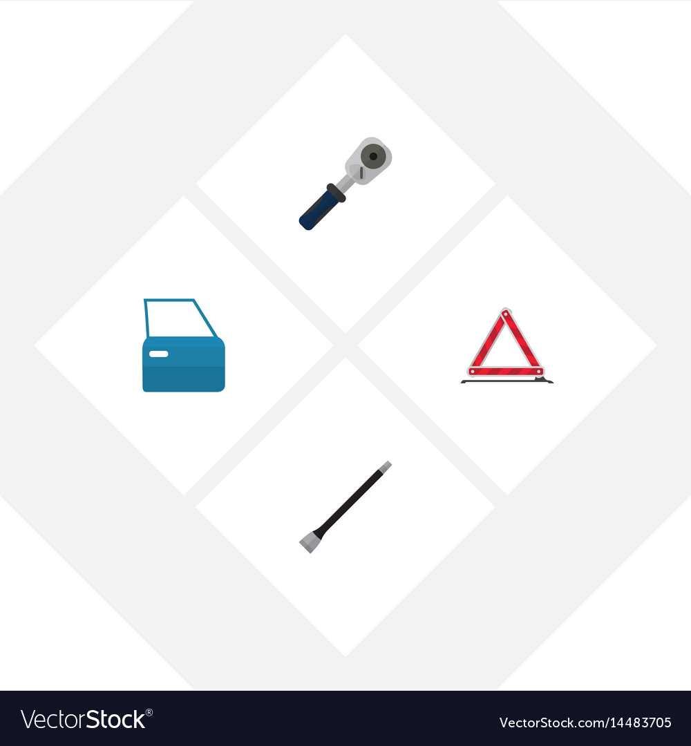 Flat auto set of warning automobile part ratchet vector image