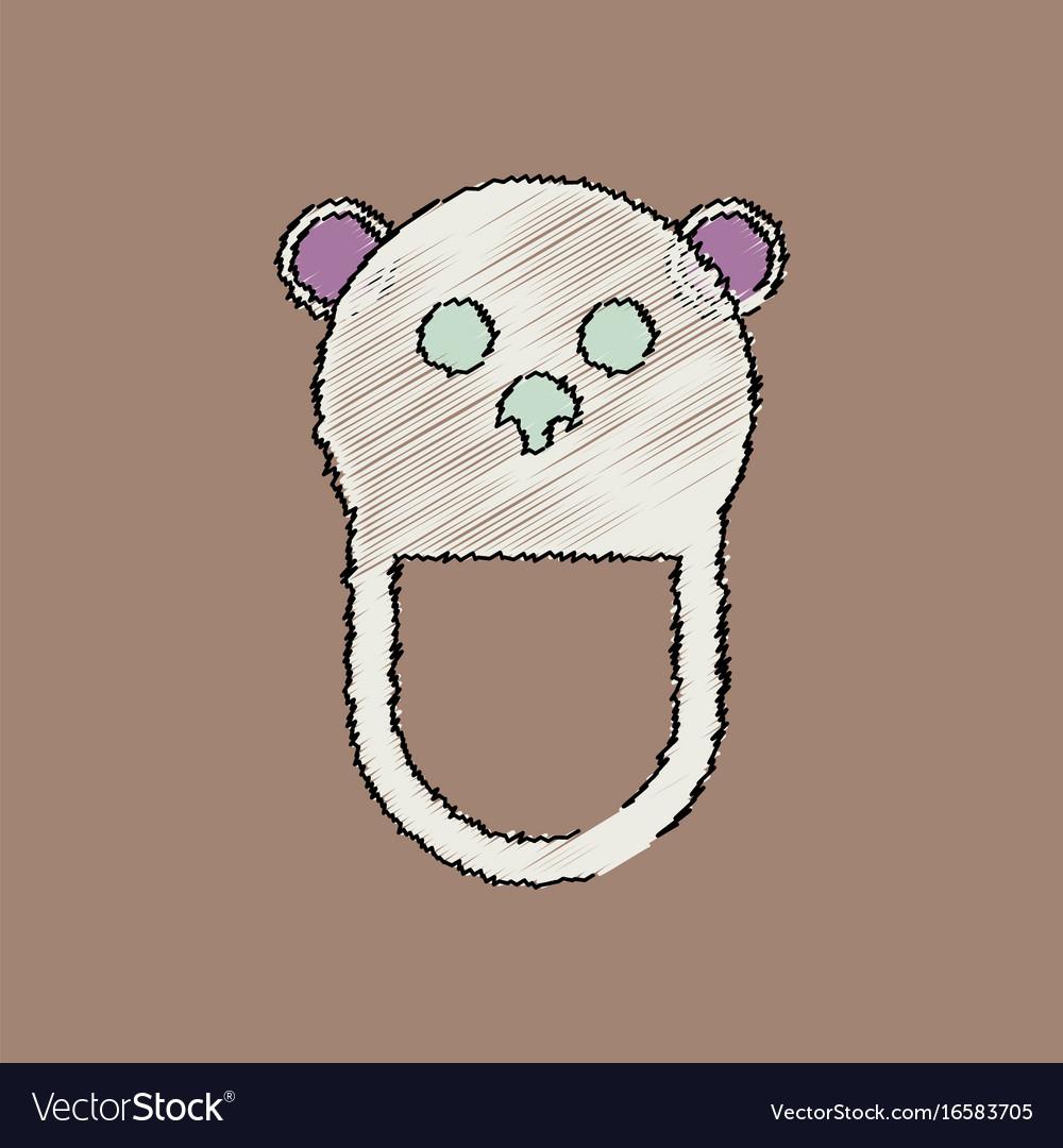 Flat shading style icon teddy bear bib vector image