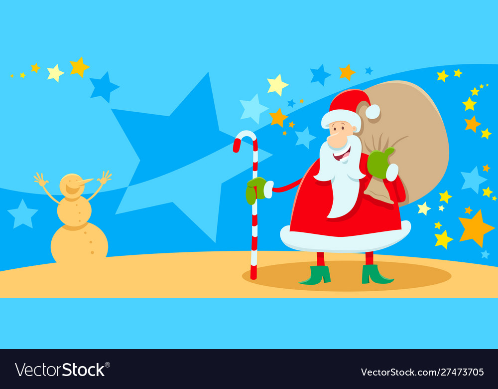 Picture A Christmas.Greeting Card With Santa Claus On Christmas Time