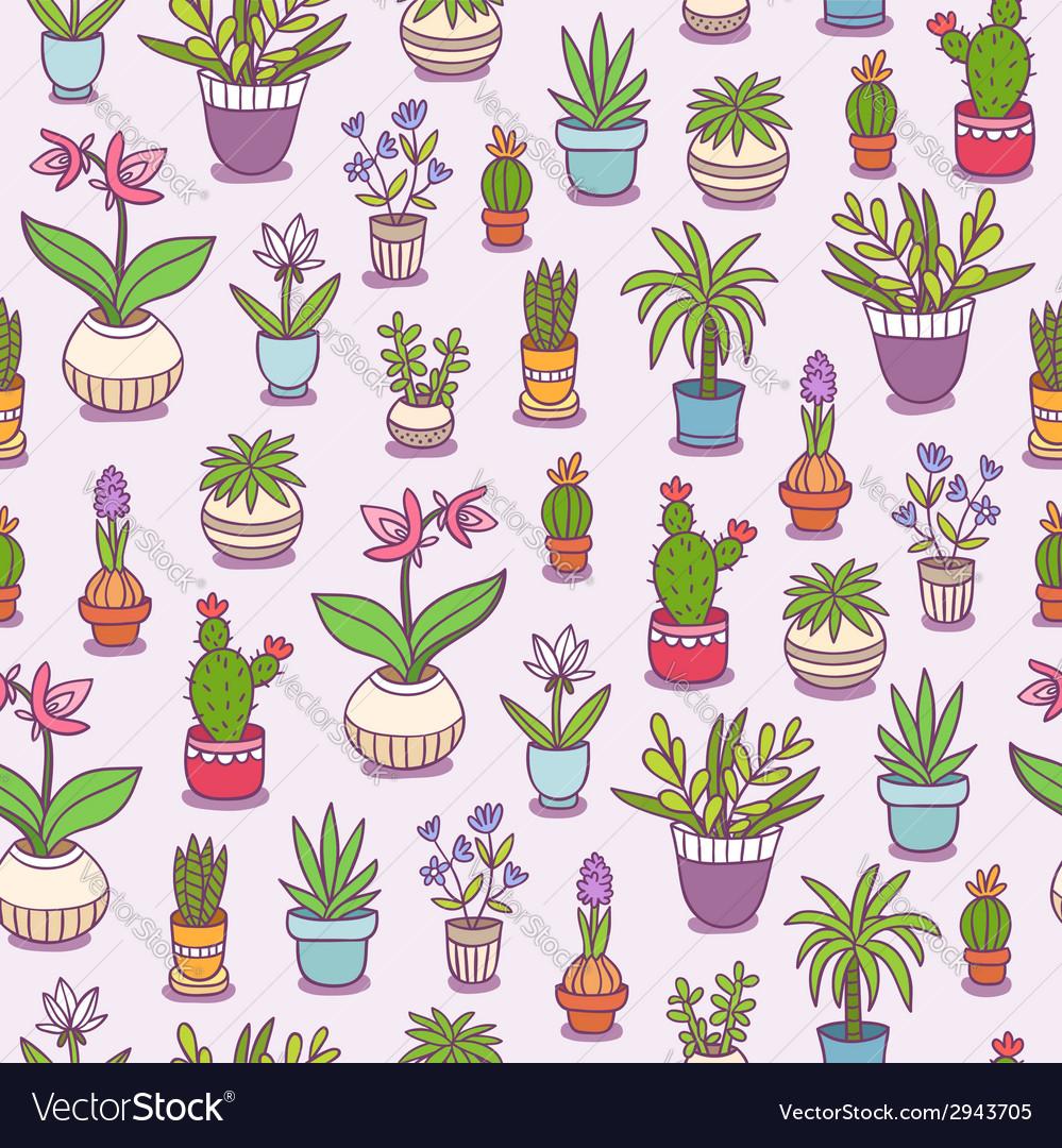 Home plants seamless pattern