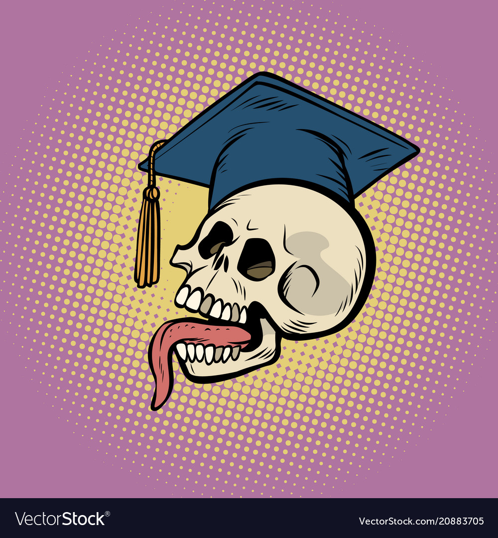 Human skull in a graduate hat vector image