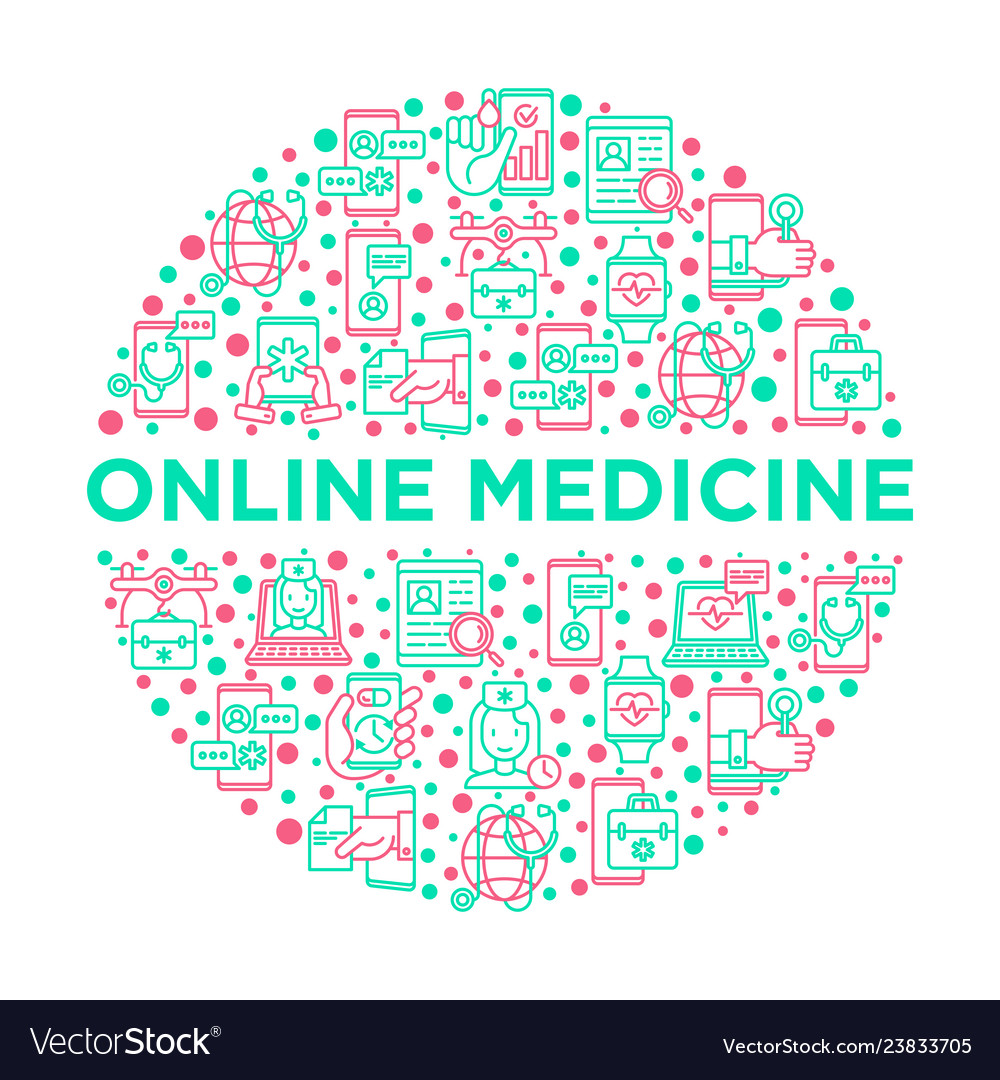Online medicine telemedicine concept in circle