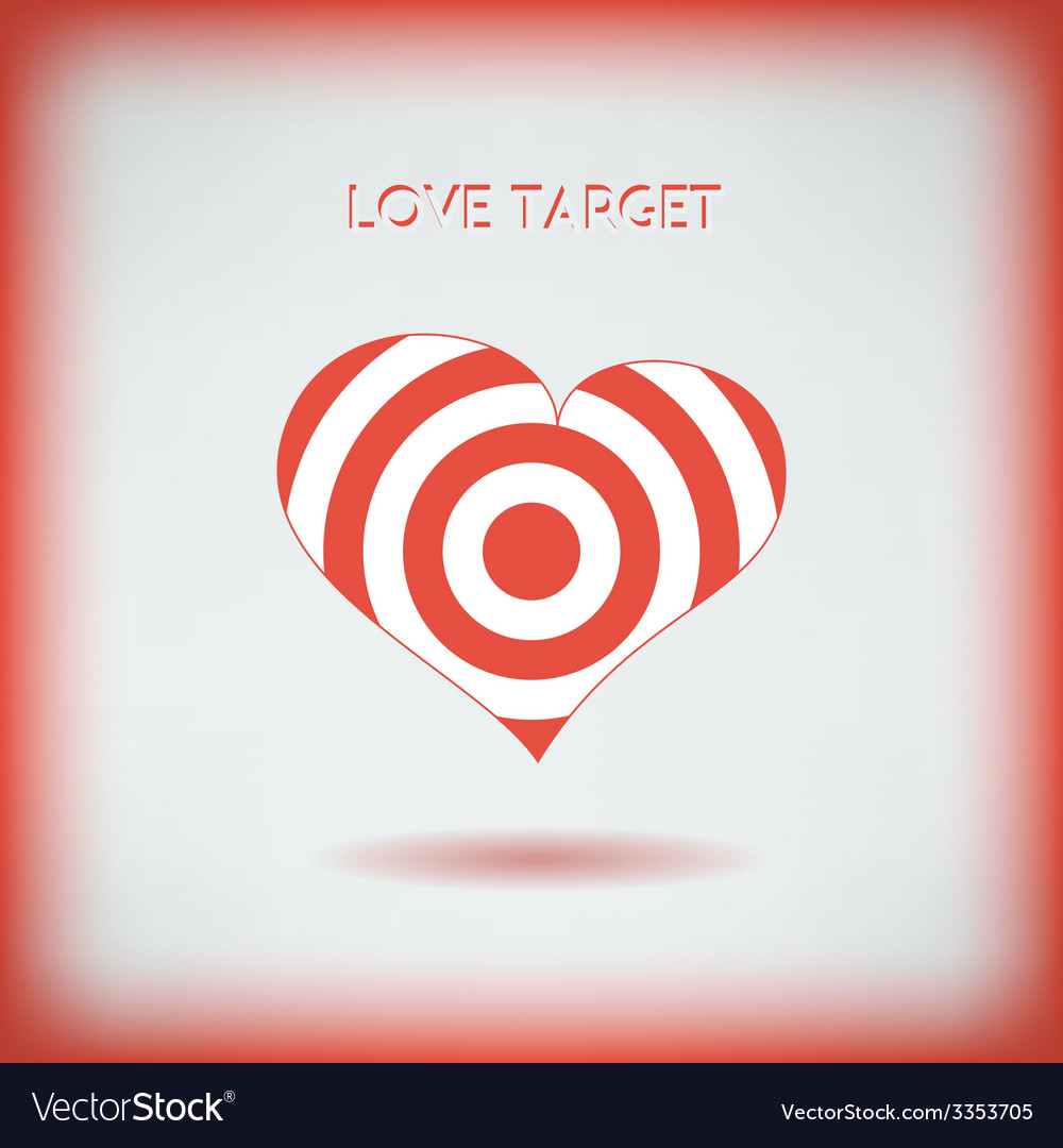 red heart target icon love aim concept royalty free vector vectorstock