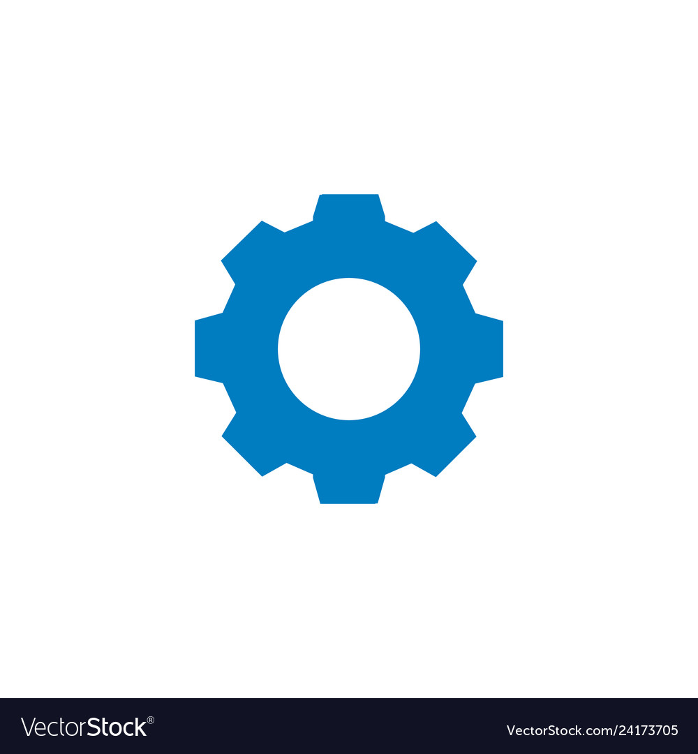 Settings icon gear or cog simple blue icon