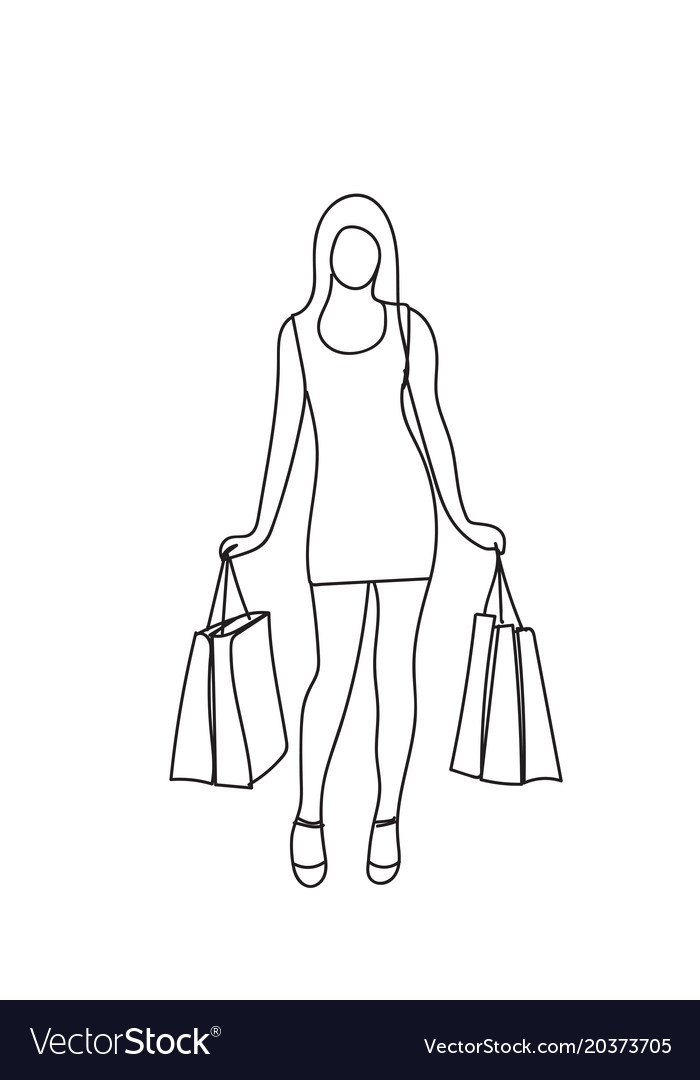 Silhouette woman holding shopping bags isolated