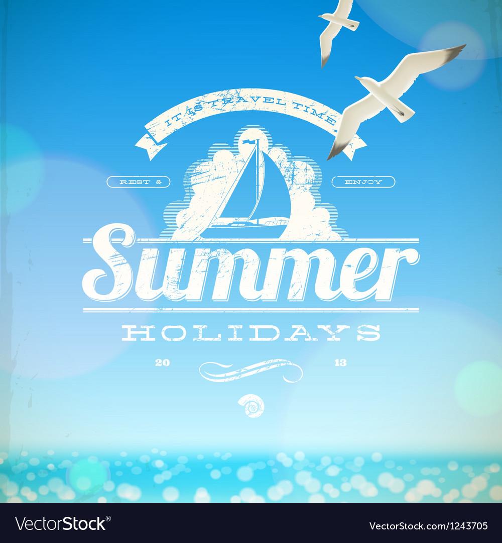 Summer holidays emblem with yacht
