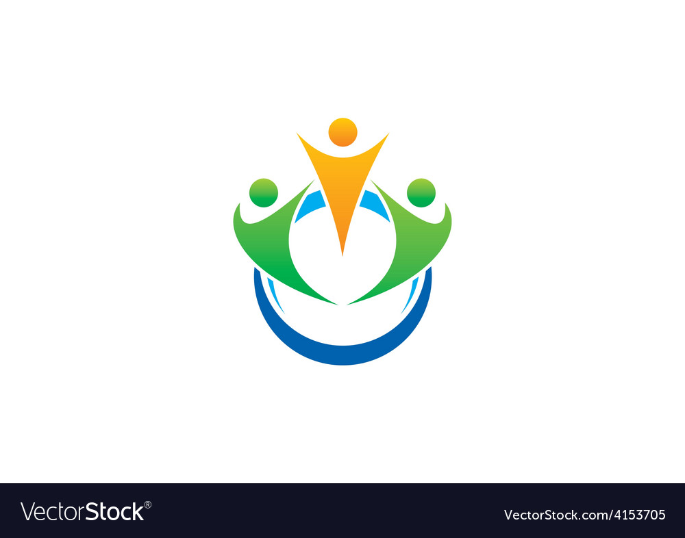Three people group abstract logo vector image