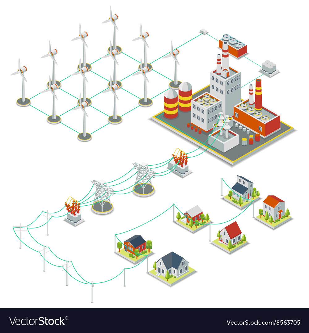 Windmil turbine power 3D isometric clean energy