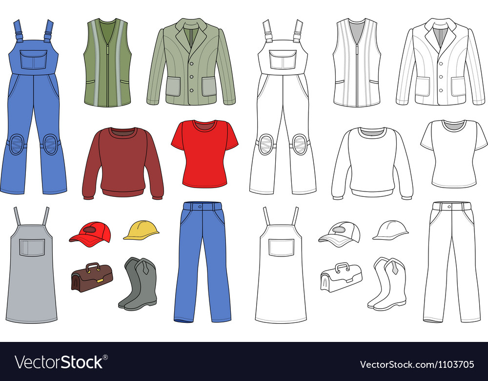 Worker plumber fashion set vector image