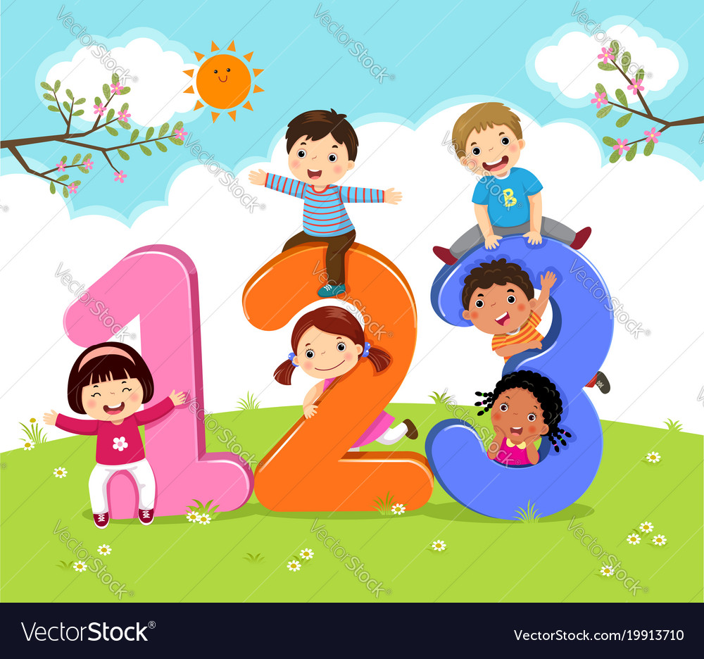 Cartoon kids with 123 numbers Royalty Free Vector Image