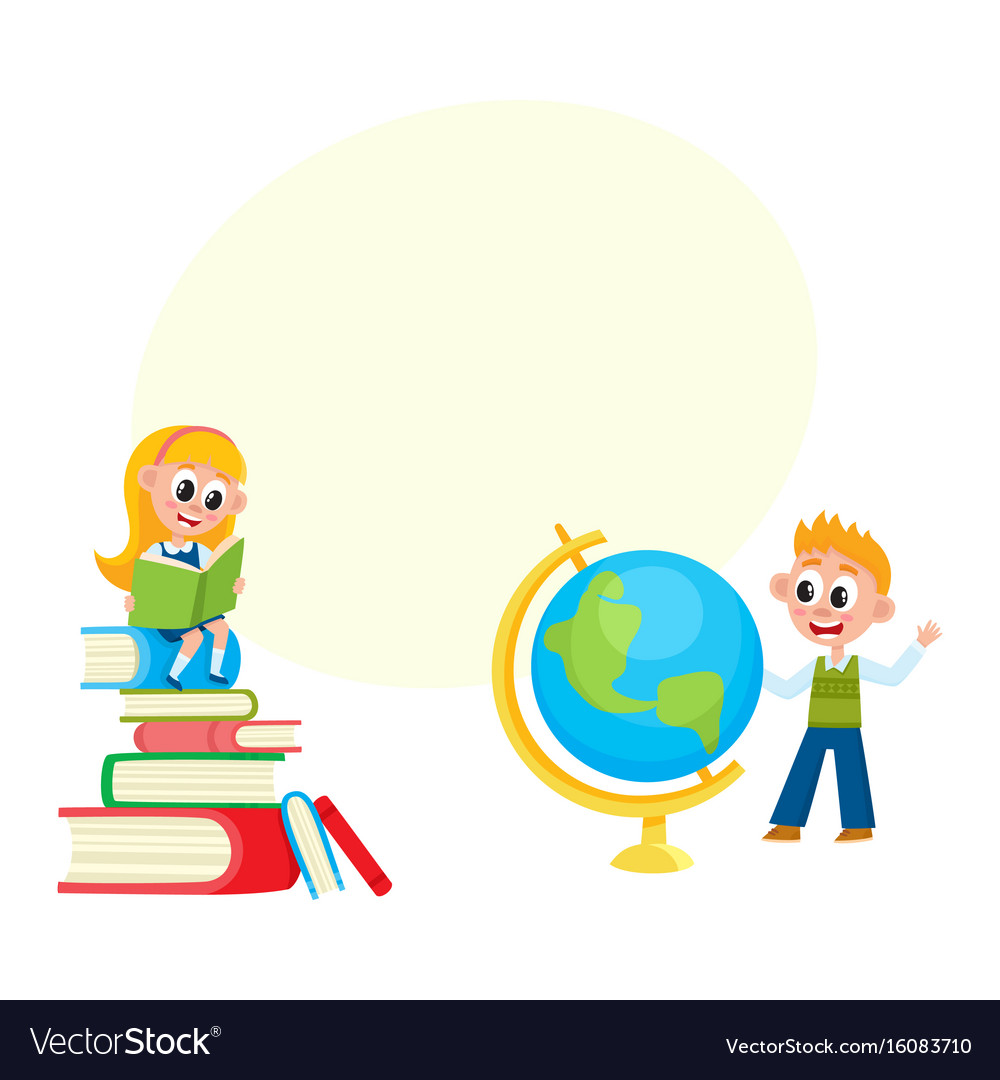 Children learn girl reading boy studying globe