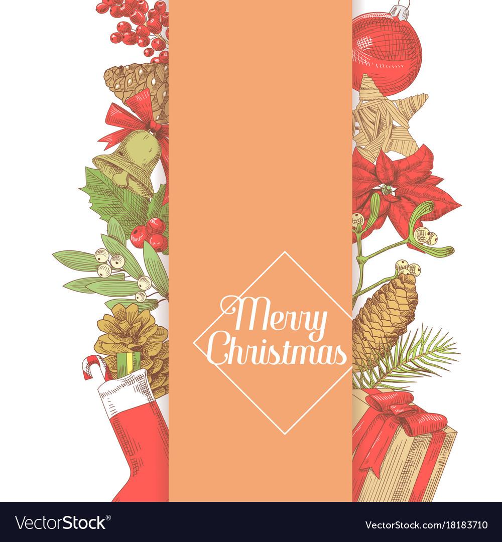 Christmas greeting card new year hand drawn