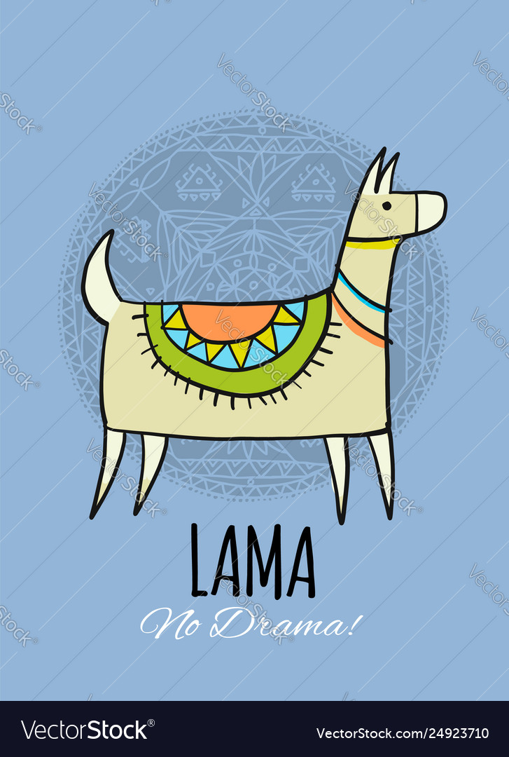 Cute lama character greeting card for your design