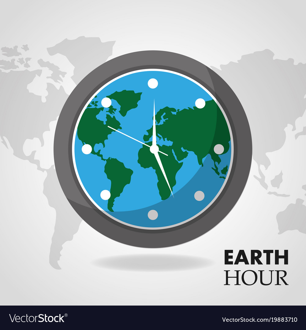 Earth hour globe inside clock map background vector image gumiabroncs Gallery