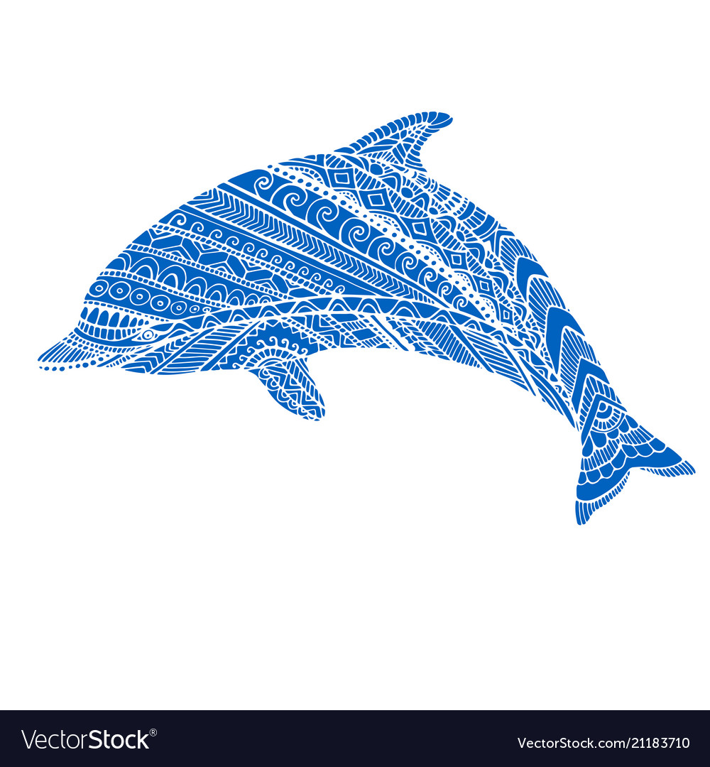Fantasy ornamental dolphin blue color