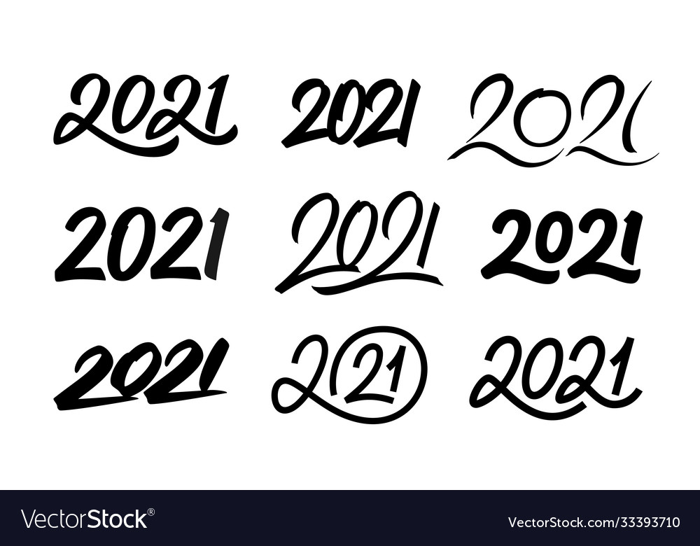 Set new year 2021 calligraphy numbers