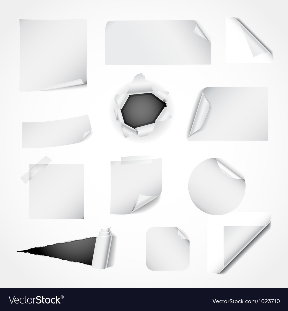 Set of white paper design elements vector image
