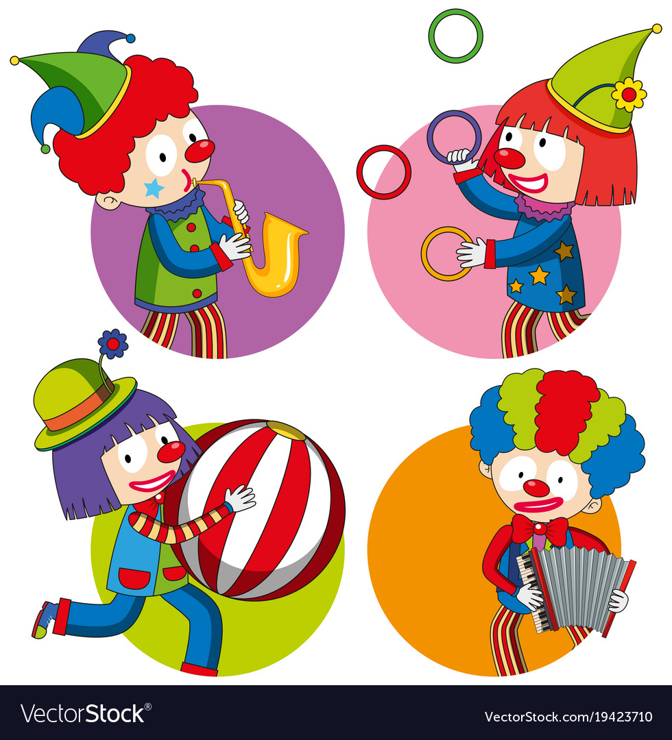 Sticker design with happy clowns vector image