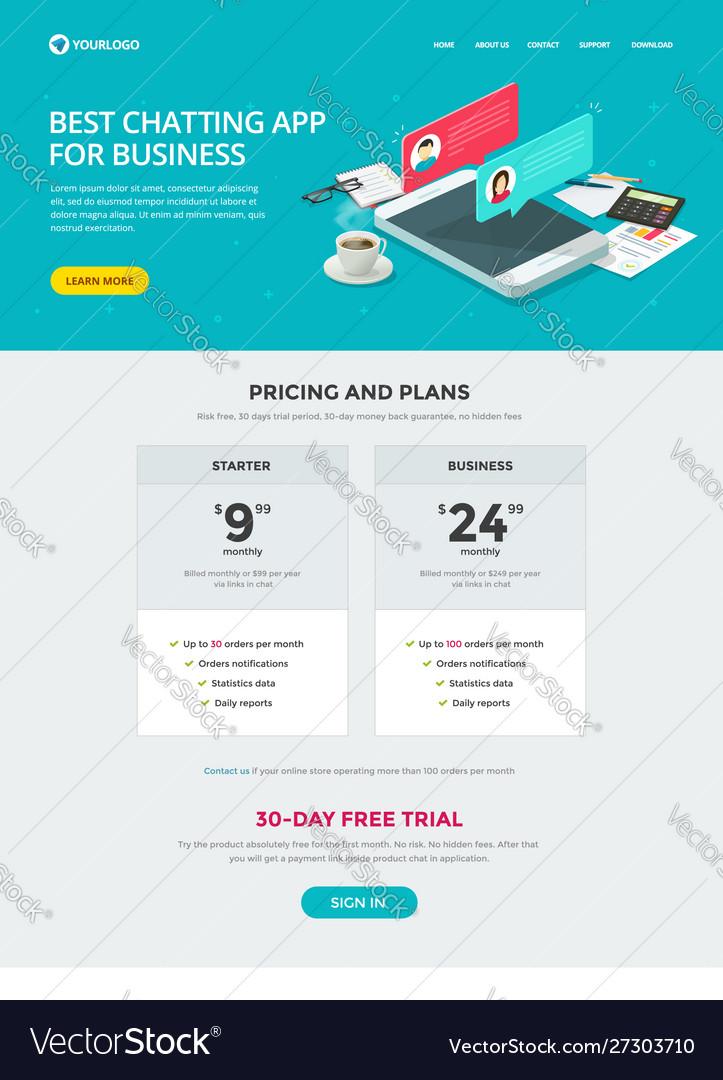 Website template design chat messaging app for